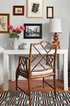 Small Home Office Interior Parsons desk, Chippendale chair Decor, Furniture, Interior, Parsons Desk, Chippendale Chairs, Home Decor, House Interior, Parsons Table, Interior Design