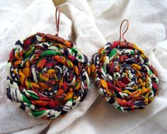 Round Multicoloured African Print Earrings