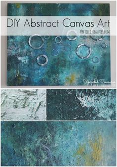 DIY Abstract Canvas Art - I created some DIY abstract art using canvas, acrylic paints, fabric, sand & washers. UpcycledTreasures.com