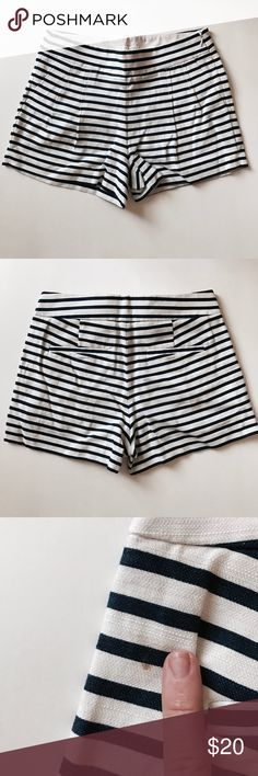 Striped J.crew flare shorts Worn a few times- cute navy and white striped shorts. Only fault is a tiny tiny stain close to the left seam on the back of the shorts. Would come out if you spot treated it! Size 0/small. No trades! J. Crew Shorts
