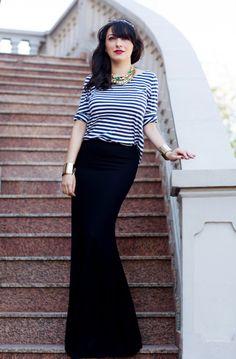 Stripes + maxi skirt = instan glam: Ana of High Street Cardigans