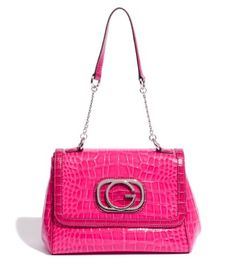 $69.50-$69.50 G by GUESS Tiffani Half Flap Bag, PINK - The ultimate in high-style sophistication. This glamorous handbag showcases a structured silhouette and half flap design in front. Top handle includes polished chain detailing. Single top handle with chain detail Half flap design with snap closure Silver-tone hardware and logo Faux leather croc-embossed exterior Satin-feel interior lining Inte ...