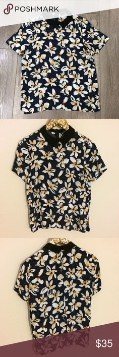 Zara navy floral blouse S Good used condition Inventory# 195 Zara Tops Blouses