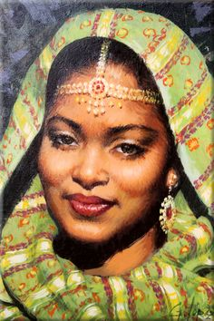 Cuadro: Mujer hindú (22x27 cm, Óleo sobre tabla) - Pintor: José Manuel García López - Referencia: 0920