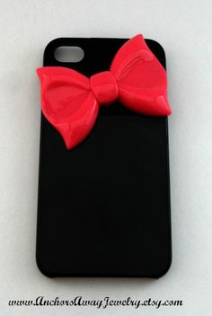 Black Iphone 5 Case With Pink Bow, Bow Iphone 5 Case, Iphone Case. $10.00, via Etsy.