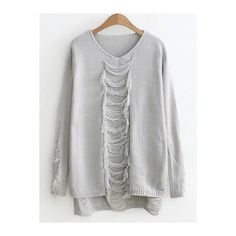 High Low Ripped Sweater ($18) ❤ liked on Polyvore featuring tops, sweaters, torn sweater, ripped sweaters, distressed sweater, destroyed sweater and ripped tops