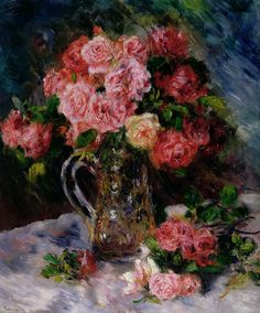 Floral Still Life Painting - Roses by Pierre Auguste Renoir Pierre Auguste Renoir, Pierre Bonnard, Edouard Manet, August Renoir, Renoir Paintings, Rose Paintings, Impressionist Art, Still Life Art, Rose Art