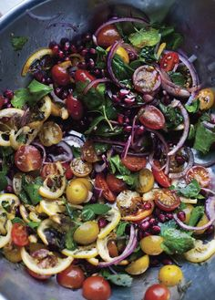 Tomato and grilled lemon salad