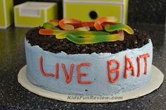 """Live Bait"" Can Fishing fun kid's birthday cake idea"