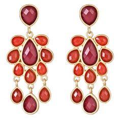 Jewel Cabana Chandelier Earrings in Ruby