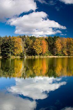 Reservoir Reflection #landscape #autumn #vermont #foliage #reflection #clouds #photography #fall