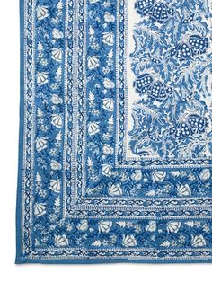 Wisteria    Color-blocked by hand, a vibrant Indian cloth adds a dash of global flair.    Woodblock print tablecloth