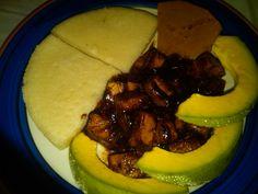 bbq tofu, steamed bammy, pumpkin n avocado