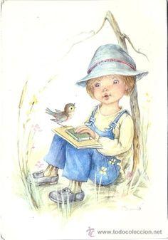 Vintage Cards, Vintage Postcards, Copic Art, Holly Hobbie, Kids Sports, Big Eyes, Nursery Art, Coloring Pages, Drawings