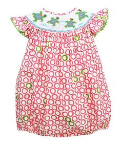 Another great find on #zulily! Pink & Green Sea Turtles Smocked Bubble Romper - Infant #zulilyfinds