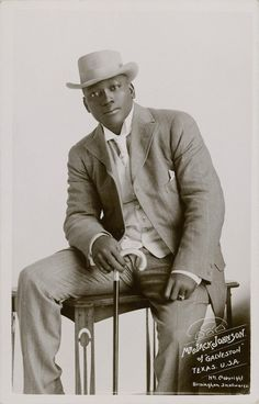 w e c o l o u r ed.  Jack Johnson, the first Black heavyweight boxing champion, dressed sharp as a tack, 1908.