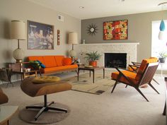 art orange cushionsdanish modernmidcentury modernmodern retroretro living roomscute living roomliving