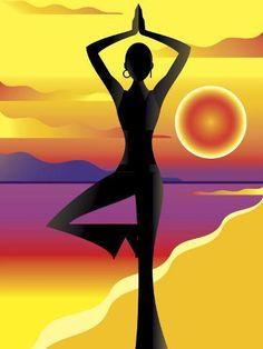 Woman Doing Yoga on Beach at Sunset Premium Poster Samadhi Yoga, Yoga Painting, Chakra Painting, Yoga Drawing, Zen Meditation, Yoga Art, Yoga Benefits, Sunset Photos, How To Do Yoga