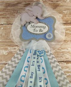 Blue Elephant Mommy To Be Baby Shower Corsage or ANY Name *Please Add Name on Tag in Notes To Seller at Checkout Flower Measures: 3 x 6 Made from