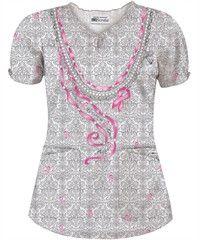 UA Pretty in Pink White Print Keyhole Neckline Scrub Top