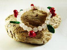 Cherry and leaves bracelet pink quartz  pearl bracelet