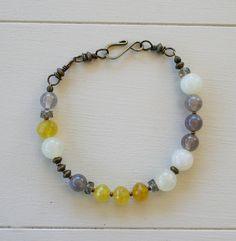 SALE Bryn Bracelet  Yellow Chalcedony Sea Green by SimonandRuby, $40.00