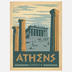 Athens Vintage Travel Poster--Print; someday i will travel to the places that i wish to see.