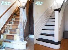 DIY Duel: Staircase Restoration – It's done!!!!! - Little House On The Corner - dark steps, white risers