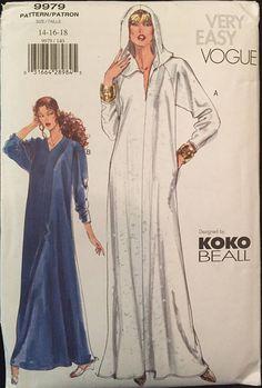Rare Vogue KOKO Beall Caftan Maxi Dress w Optional Hood