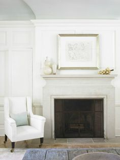 High gloss mint ceiling, limestone fireplace - Atlanta Home by Beth Webb Cast Stone Fireplace, Limestone Fireplace, Home Fireplace, Fireplace Surrounds, Fireplace Design, Stone Mantle, Classic Fireplace, Fireplace Cover, Stone Fireplaces