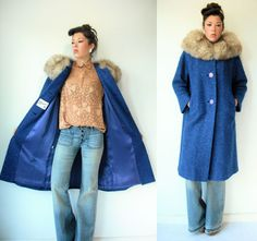 Vintage 60's Royal Cobalt Blue Fox Fur Coat / by viralthreads, $225.00