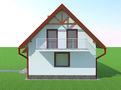 Elewacja prawa projektu Deko w2 Home Fashion, Shed, Outdoor Structures, Cabin, House Styles, Home Decor, Plantation Houses, Gardens, Deco