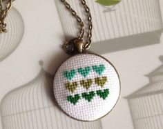 Little Houses Cross Stitch Necklace by getfeltup on Etsy
