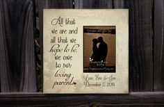 """Personalized Parents of the Bride & Groom Picture Frame, Distressed faded Ivory, Thank you Gift, """"All that we are we owe to our loving parents"""", by ImpressionsByMisty, $45.00"""