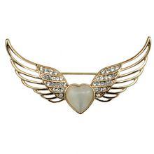 Loving Heart Shaped Opal bijuterias cristal Rhinestone Metal asas de anjo broche Pin(China (Mainland))