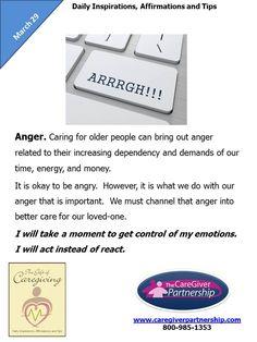 March 29 Daily CareGiver Affirmation: Anger #caregiver #caregiving  #familycaregiver