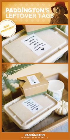 Everyone knows that Thanksgiving leftovers are even better than the meal itself. Attach our FREE Paddington leftover printables to your guests' extra turkey and keep them looking extra cute! Don't miss Paddington the movie, in theaters January Event Organization, Organizing, Paddington Bear Party, Random Holidays, Thanksgiving Leftovers, Party Food And Drinks, Care Packages, Craft Corner, Creative Activities