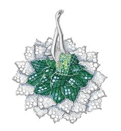 "Ballerina Rite of Spring brooch, Van Cleef & Arpels. White and pink gold, emeralds in ""Mystery setting"", emeralds, tsavorites, diamonds © Van Cleef & Arpels"