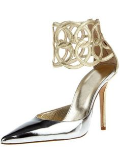4 Inch Heel Height Silver Pu Pumps