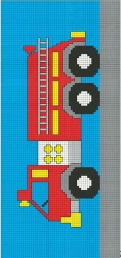 Fire Truck Knitting Chart Ravelry Free Patterns - Yahoo Image Search Results The Effective Pictures Graph Crochet, Pixel Crochet, C2c Crochet, Knitting Charts, Knitting Patterns, Crochet Patterns, Free Knitting, Cross Stitching, Cross Stitch Embroidery