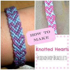 DIY How to make knotted hearts friendship bracelets {paper tape and pins} Heart Friendship Bracelets, Friendship Bracelets Tutorial, Friendship Bracelet Patterns, Bracelet Tutorial, Dyi Crafts, Cute Crafts, Creative Crafts, Crafts For Kids, Arts And Crafts