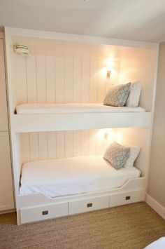 imagine the lower bunk with one more drawer below, a little ladder, and higher side rails.  This is Alden's new bed(sans the upper bunk) to make room for baby girl!