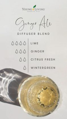 Ginger Essential Oil, Essential Oil Diffuser Blends, Doterra Essential Oils, Young Living Essential Oils, Ginger Ale, Diffuser Recipes, Living Oils, Belleza Natural, Lime