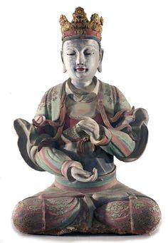 Bodhisattva 17th C. Chinese polychrome terra cotta. Crowned. Cloud and Phoenix fabric designs. Vanderbilt University.