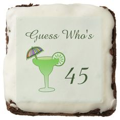Funny Ladies Margarita Tequila Cocktail Birthday Brownie Personalize this gag gift celebration brownie for your lady margarita lover or party animals over the hill birthday party! It features a green margarita glass with a lime and umbrella with dark green text and a light green background. Just add his or her age. Great for any party - a 20th , 30th , 40th , 50th , 60th , 70th birthday or any other age! #margarita #funny #birthday #overthehill #oldlady #cocktail