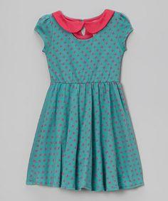 Love this Teal  Pink Star A-Line Dress on #zulily! #zulilyfinds