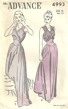 Advance 4993 Vintage 40s Sewing Pattern Gown by studioGpatterns, $20.50