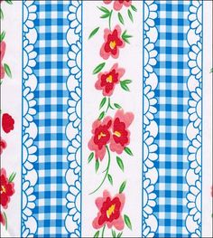 Flowers and Gingham Blue Oilcloth Fabric
