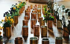 Spray painted tin cans with pansies planted inside for centre pieces  (wedding, event-stying, d.i.y, craft, gold, bronze, shiny, dinner-party, table-ideas, decoration, inspiration) Painted Tin Cans, Centre Pieces, Pansies, Event Decor, Jars, Bronze, Crafty, Canning, Dinner