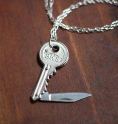 Key Shaped Pocket Knife Necklace. $35.00, via Etsy.